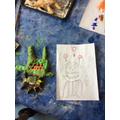 Joshua alien design drawing and salt dough model