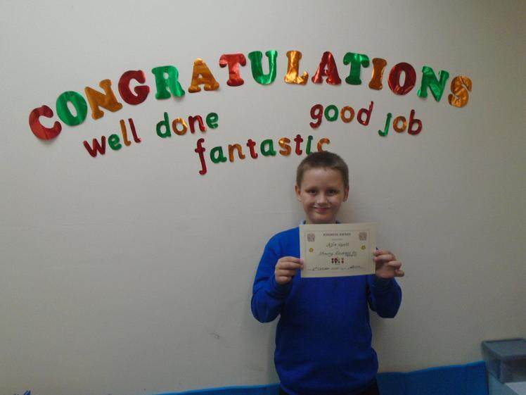 Well done to Alfie who has shown kindness to others in thrive.