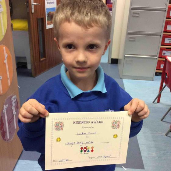 Week 3 - 24.9.20 Lukas received the Kindness award as he is always kind and polite.