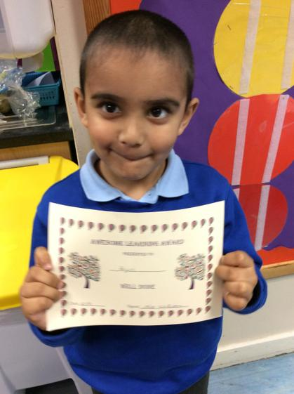 Week 1 - Arjun for working hard on his maths.