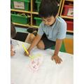 Talha drew a super sun treasure map for big foot