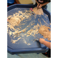 We made Ant hills using hot chocolate, flour and oil