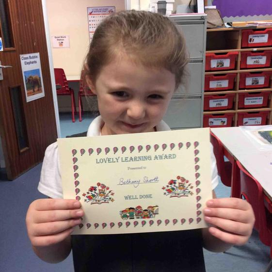 Week 3 - 24.9.20 Bethany received the lovely learning award for always working hard.