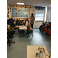 Using directions to guide Danny from one place to another in the classroom.