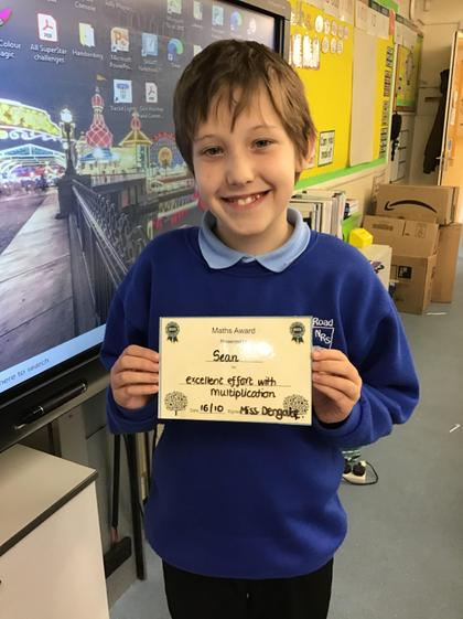 16/10 - Sean has worked really hard in Maths this week.