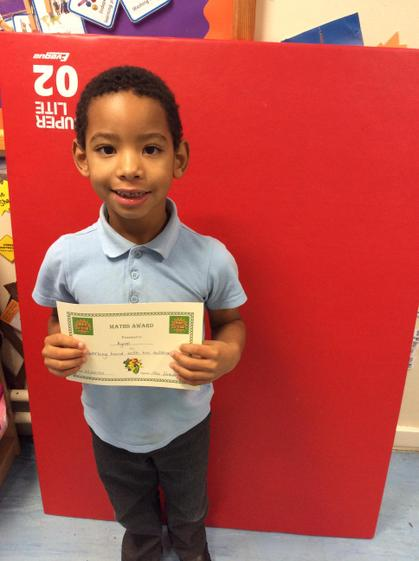 Week 7- Kyron for working hard on his subtraction.