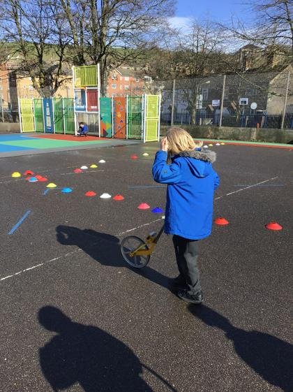 Measuring out the length of a Long Ship on the playground