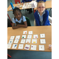 Matching fractions with their pictures.