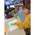 Simon painted a fantastic picture of the troll from our story 3 billy goats gruff