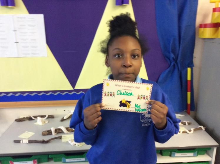 Chelsea - A Fantastic Day award for excellent effort in all lessons