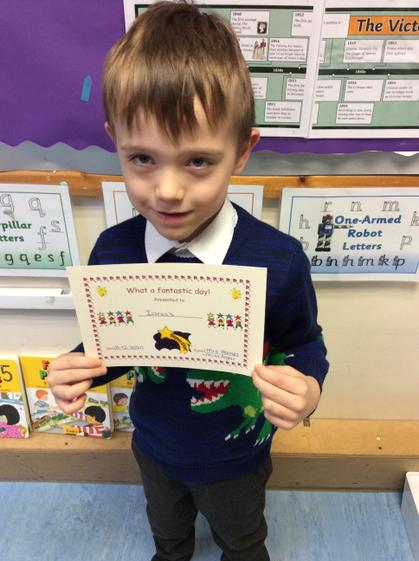 Fantastic day award for always trying hard to complete COOL time activities.