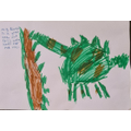 Elsie-Mae completed a tutorial to draw this dinosaur