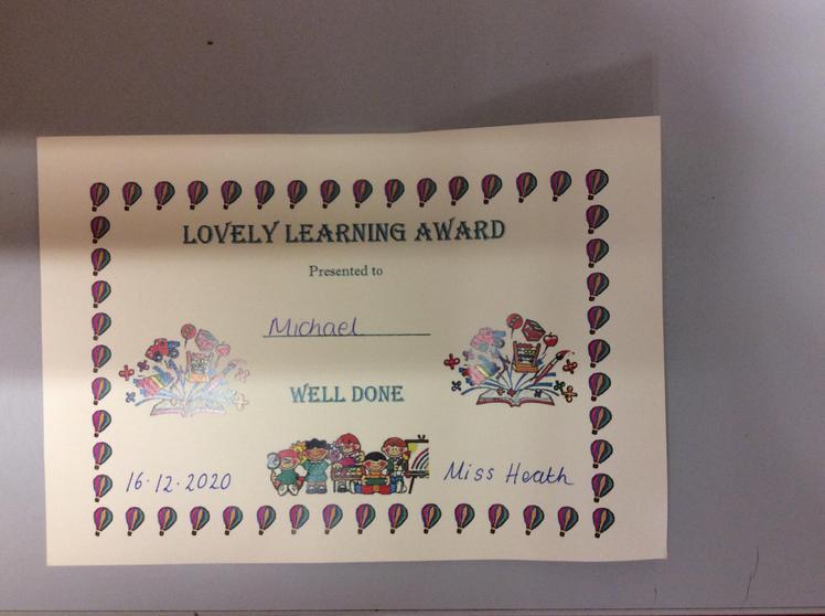 Lovely learning award for brilliant ideas.