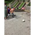 Itanas was able to kick the football into the goal