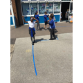 Walking on the line  - using a reflection in the mirror.