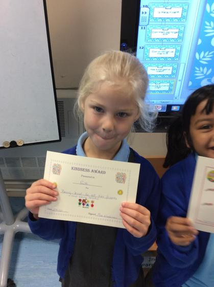 Week 2 - Faith for being kind to all her friends and being helpful in class.
