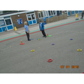 Working in teams creating PE activities