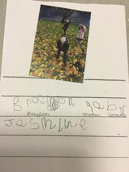 Well done Jasmine, you used letter shapes in your autumn writing.