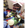 Exploring a beat with the drums.
