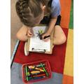 Jessica designing her own Mandala.