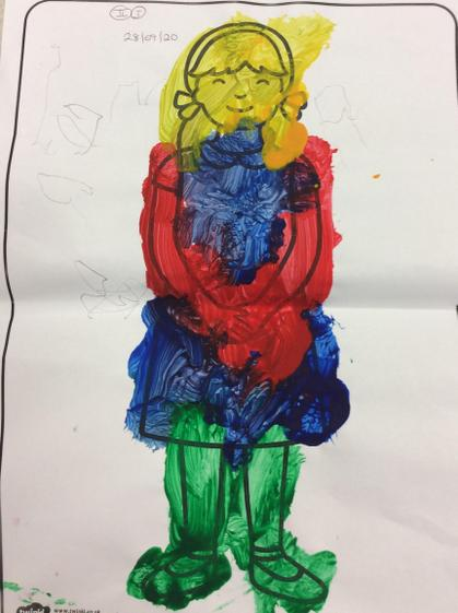 Amelia  painted a detailed and colourful painting of Goldilocks..