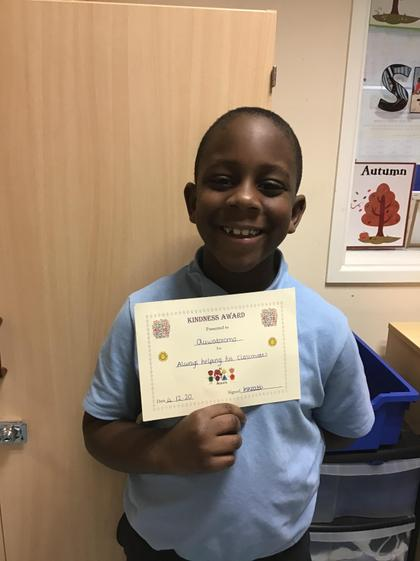 Kindness award for always helping his peers.