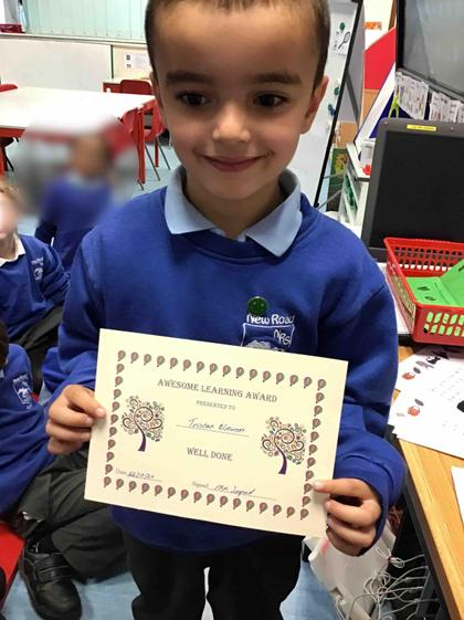 Week 7- Tristan got an award for all his fantastic learning this term