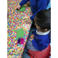 We have fun making models with the play dough.