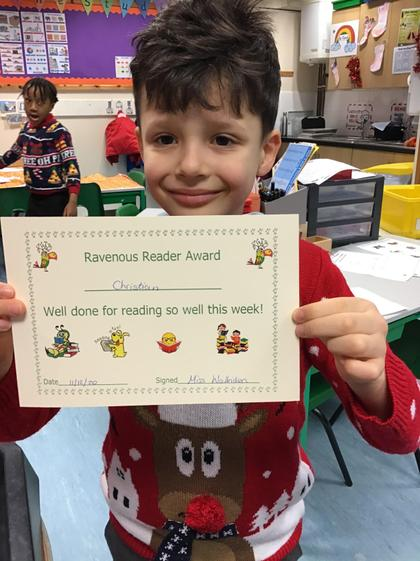 Christian for working hard on his reading and use of phonics.