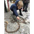 Dominic shows us his mark making skills