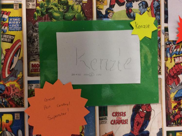 Well done Kenzie, you worked hard to trace your name.