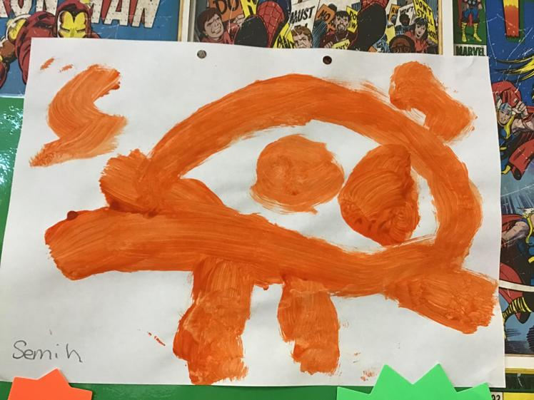 Well done Semih for a super painting of the Gingerbread man.