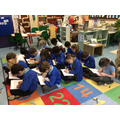 Look, Cover, Write Check during our Spelling session - Look a their concentration!