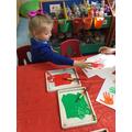 Milana enjoyed hand painting.