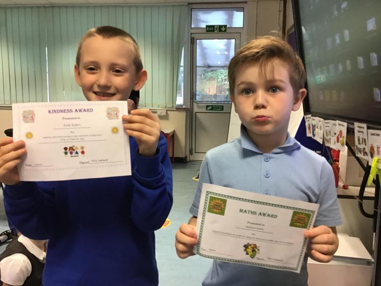 Week 1 - 10.9.20 Kyle earned the kindness award. Harrison won the Maths award.