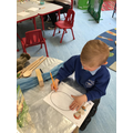 The children did mark making about the story The Three Billy Goats Gruff