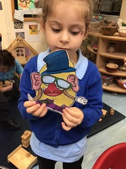Alice worked hard to cut out her Mr Potato.