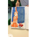 We also painted pictures of landmarks by printing using Lego. Scarlett's Empire State.