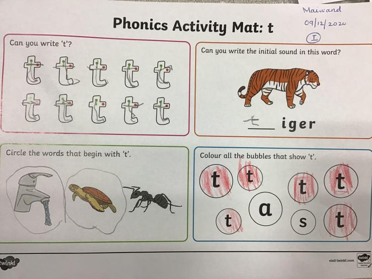 Well done Maiwand for hearing the initial phoneme and recrding them.