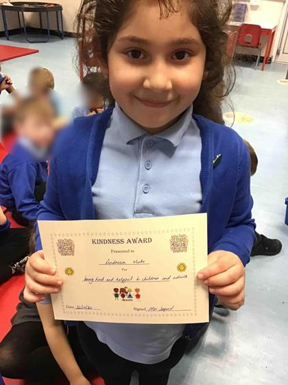 Week 7- Andreea got the kindness award for helping friends and adults