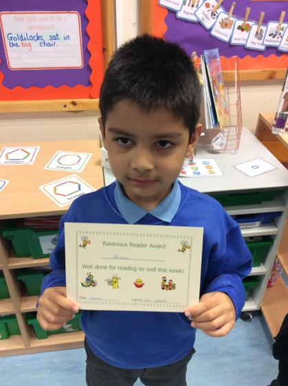 Week 4- Mirwais for working hard with his reading and phonics.