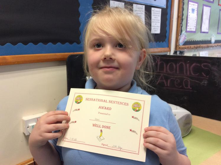 Week 4 - Lexi-Mai for her super sentence writing.