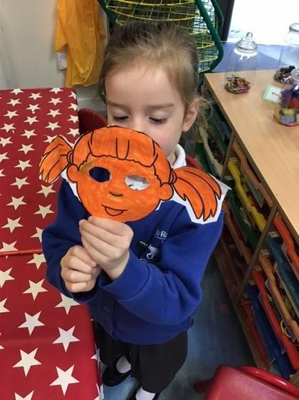 Jasmine worked hard to create an amazing mask.