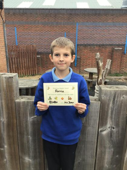16/9 - Ronnie for excellent reading this week and reading at home.