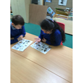Taking turns to retell the story in the library