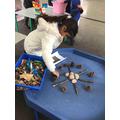 Using natural resources to make a mandala