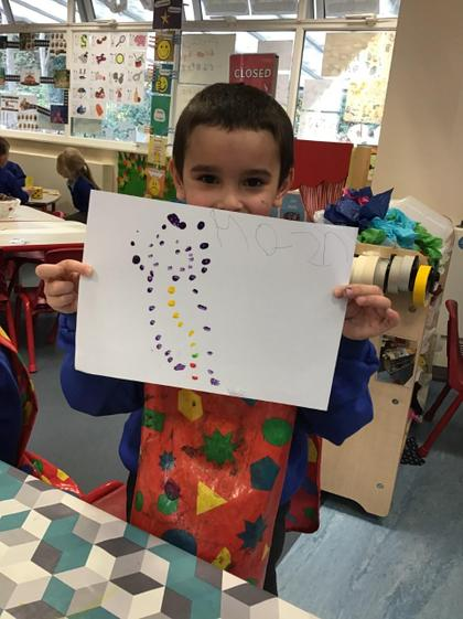 Well done Mason a super dotty picture of a snowman.