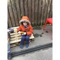 Leo enjoyed exploring the claves outside
