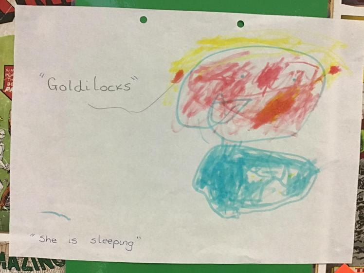 Lexi drew a lovely detailed picture of Goldilocks.