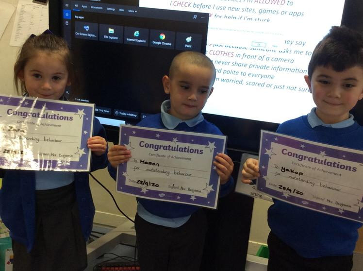 Fantastic  work this week, Zara , Mason and Yakup. Well done for getting  to outstanding.